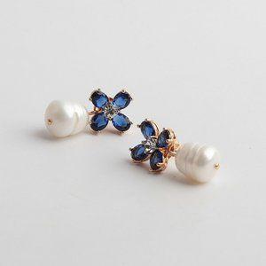 Tory Burch Blue Crystal Deep-Grain Pearl Earrings